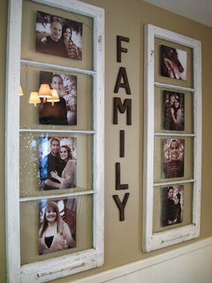Quadro de fotos feitos com janelas antigas