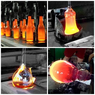 Produção de diferentes produtos de vidro como garrafas e vasos