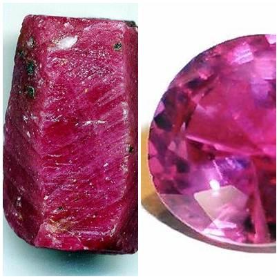 Pedra rubi bruta e após lapidação