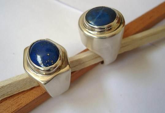 Anel de prata com pedra lazuli