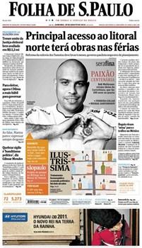 Capa do Jornal Impresso Folha de São Paulo