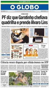 Capa do Jornal Impresso O Globo