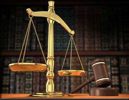 A balança e o martelo são símbolos da Justiça, significam equidade e igualdade; respeito e ordem, respectivamente