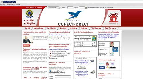 Página do Site do CRECI do Estado de Minas Gerais